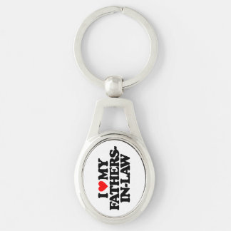 I LOVE MY FATHERS-IN-LAW Silver-Colored OVAL KEY RING