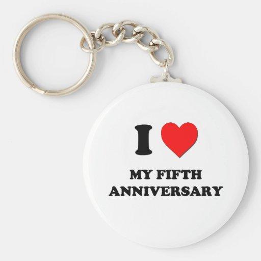 I Love My Fifth Anniversary Keychains