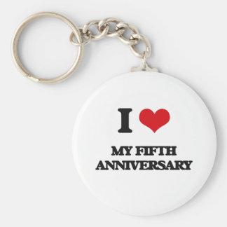 I Love My Fifth Anniversary Keychain
