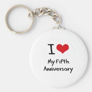I Love My Fifth Anniversary Key Chains