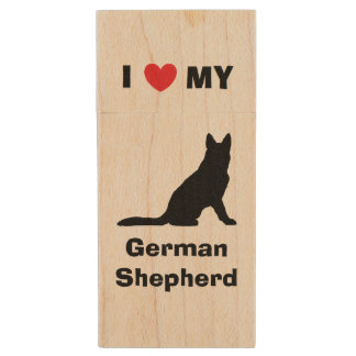 """I Love My German Shepherd"" Wood Flash Drive Wood USB 2.0 Flash Drive"