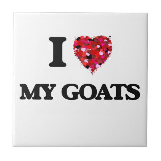 I Love My Goats Small Square Tile