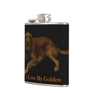 I Love My Golden Hip Flask