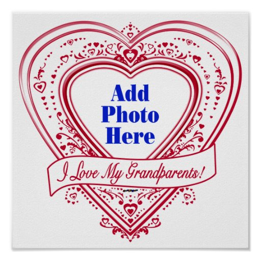 I Love My Grandparents! Photo Red Hearts Print