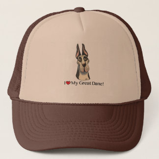 I Love my Great Dane; Harlequin cropped Trucker Hat