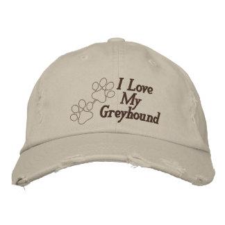 I Love My Greyhound Dog Customizable Name Embroidered Baseball Cap