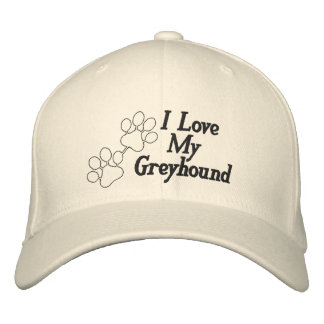 I Love My Greyhound Dog Customizable Name Embroidered Cap