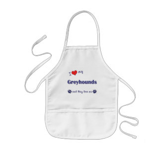 I Love My Greyhounds (Multiple Dogs) Kids Apron