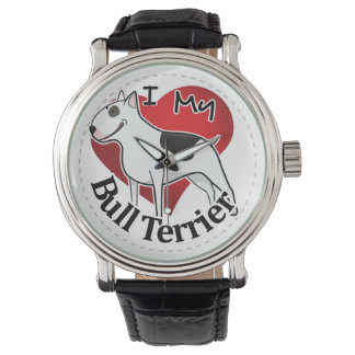 I Love My Happy Adorable Funny & Cute Bull Terrier Wristwatches