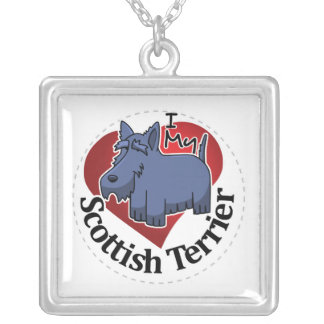 I Love My Happy Adorable Funny & Cute Scottish Ter Silver Plated Necklace