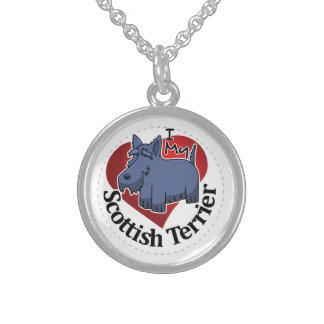 I Love My Happy Adorable Funny & Cute Scottish Ter Sterling Silver Necklace