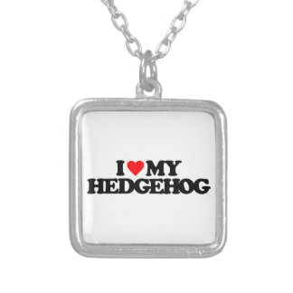 I LOVE MY HEDGEHOG SILVER PLATED NECKLACE