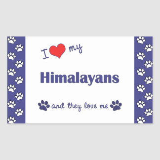 I Love My Himalayans (Multiple Cats) Rectangular Sticker