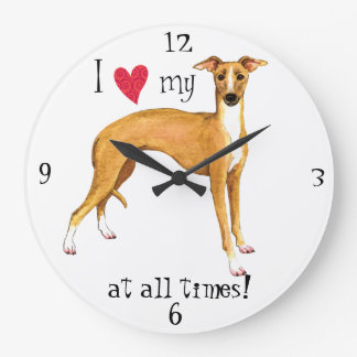 I Love my Italian Greyhound Large Clock