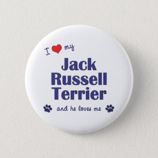 I Love My Jack Russell Terrier (Male Dog) 6 Cm Round Badge