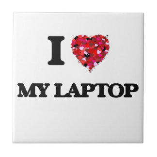 I Love My Laptop Small Square Tile