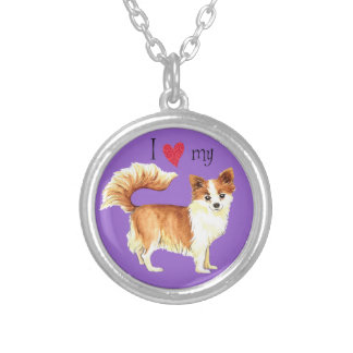 I Love my Long Coat Chihuahua Silver Plated Necklace