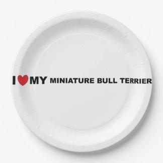 i love my miniature bull terrier paper plate