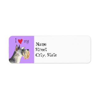 I Love my Miniature Schnauzer Return Address Label