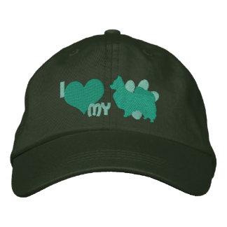 I Love my Papillon Green Embroidered Baseball Cap