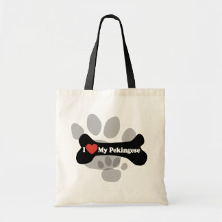 I Love My Pekingese - Dog Bone Tote Bag