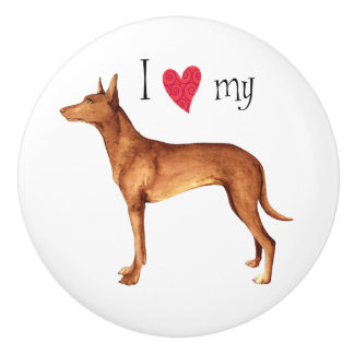 I Love my Pharaoh Hound Ceramic Knob
