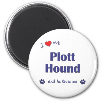 I Love My Plott Hound (Male Dog) 6 Cm Round Magnet