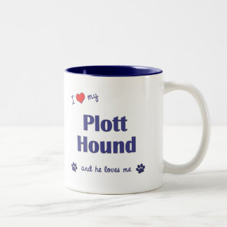 I Love My Plott Hound (Male Dog) Two-Tone Coffee Mug