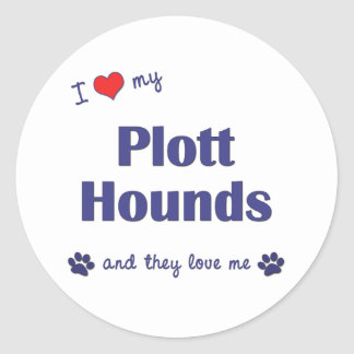 I Love My Plott Hounds (Multiple Dogs) Classic Round Sticker