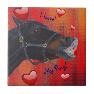 I Love My Pony! Cute Equestrian Small Square Tile