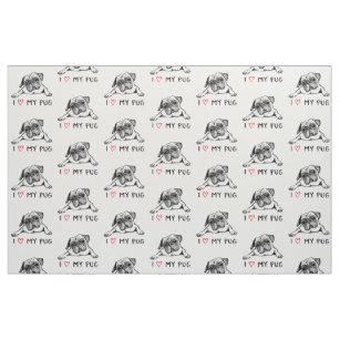 b59f0481d7f I Love My Pug Fabric
