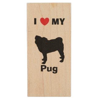 """""""I Love My Pug"""" Wood Flash Drive Wood USB 2.0 Flash Drive"""