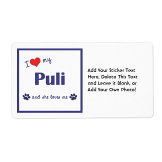 I Love My Puli (Female Dog) Shipping Label