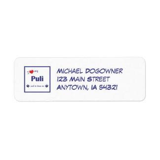 I Love My Puli (Male Dog) Return Address Label