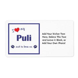 I Love My Puli (Male Dog) Shipping Label