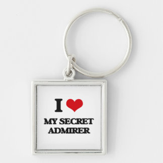 I love My Secret Admirer Silver-Colored Square Keychain