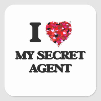 I Love My Secret Agent Square Sticker