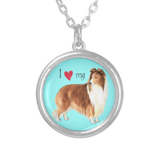 I Love my Sheltie Silver Plated Necklace