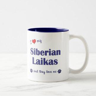I Love My Siberian Laikas (Multiple Dogs) Two-Tone Coffee Mug