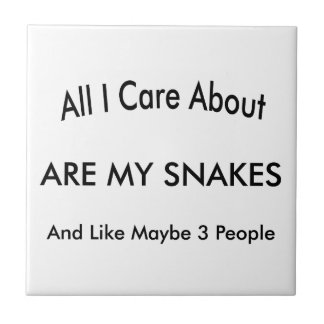 I Love My Snakes Small Square Tile