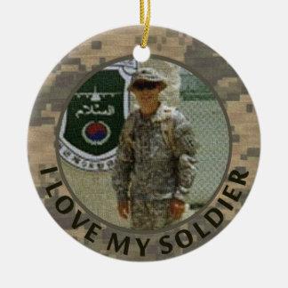 I Love My Soldier Military Photo Customizable Round Ceramic Decoration