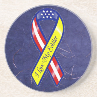 I Love My Soldier Military Yellow Ribbon Patriotic Coaster