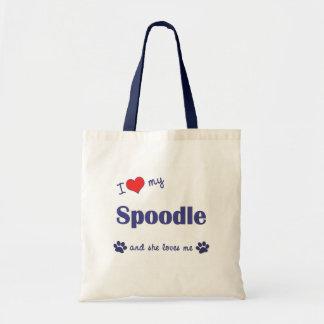 I Love My Spoodle (Female Dog) Tote Bag