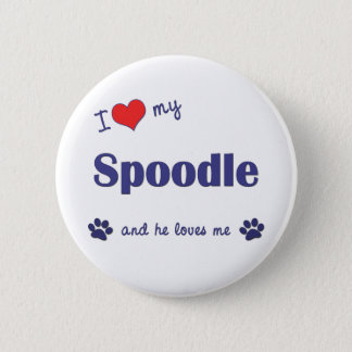 I Love My Spoodle (Male Dog) 6 Cm Round Badge