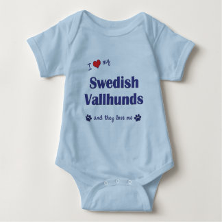 I Love My Swedish Vallhunds (Multiple Dogs) Baby Bodysuit