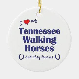 I Love My Tennessee Walking Horses (Multi Horses) Round Ceramic Decoration