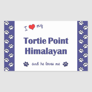 I Love My Tortie Point Himalayan (Male Cat) Rectangular Sticker