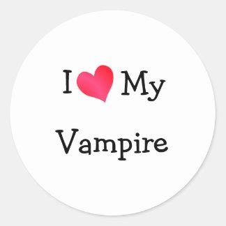 I Love My Vampire Classic Round Sticker