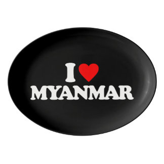 I LOVE MYANMAR PORCELAIN SERVING PLATTER