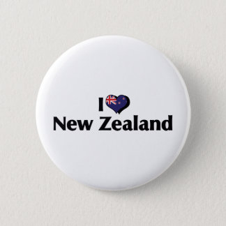 I Love New Zealand Flag 6 Cm Round Badge